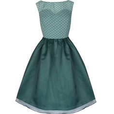 Pin up sheer polka dot bodice party dress. Sweetheart neckline, sleeveless and wide flared shimmering skirt. Made from good quality fabric with sheer vintage style overlay. Classic polka dot pin up party dress with sheer back. Vintage Inspired Fashion, Vintage Inspired Dresses, Vintage Fashion, Vintage Outfits, Vintage Party Dresses, Dress Vintage, Green Party Dress, Green Cocktail Dress, Cocktail Dresses