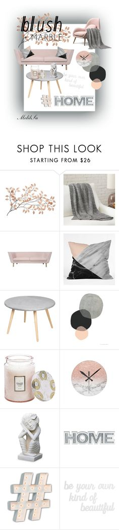 """""""Blush + Marble ❤"""" by melibsu ❤ liked on Polyvore featuring interior, interiors, interior design, home, home decor, interior decorating, Voluspa, NOVICA, Vintage Marquee Lights and PBteen"""