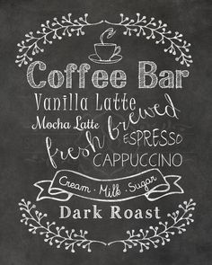 Coffe Bar, Chalkboard Printable, INSTANT download, Printable chalkboard art, Home decor by StorybookBarn on Etsy https://www.etsy.com/listing/196236555/coffe-bar-chalkboard-printable-instant