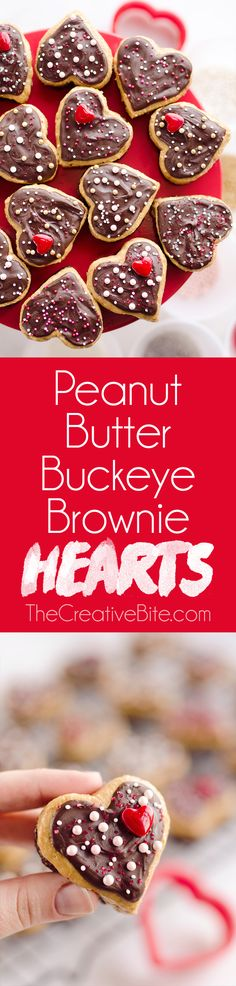 Peanut Butter Buckeye Brownie Hearts are the perfect sweet for your special Valentine. They combine two of the best desserts into one amazing treat with brownies and peanut butter buckeyes! #Valentine #Chocolate #Dessert #Sweet