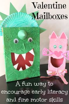 My kids wanted a dinosaur and a kitty.  What kind of Valentine mailboxes would your kids choose?