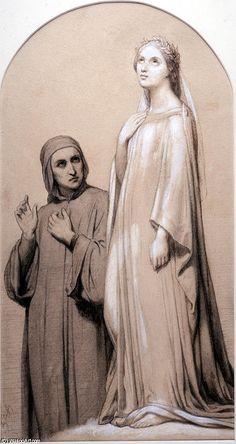 'Dante e Beatrice', olio di Ary Scheffer (1795-1858, Netherlands)