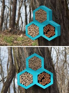This Bee Hotel takes on a hexagonal shape similar to the shape of honeycomb and creates many hiding places for non-aggressive insects like solitary bees, bumblebees and ladybugs. #BeeHotel #Bees #Garden #Design