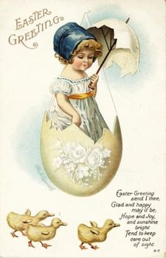 IAP Clapsaddle Girl in Cracked Egg Umbrella Duck Easter Emb Vtg Antique Postcard