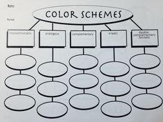 Color Scheme Worksheet - use as mini-quiz Teaching Colors, Teaching Art, Top Art Schools, Elements And Principles, Art Elements, Classe D'art, Art Handouts, Journaling, Art Worksheets
