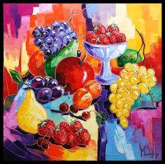 Fruits du soleil - Painting,  80x80 cm ©2011 by Olivier PFLEGER -  Painting, Oil, Oil, Art Nouveau, Fruits du soleil tableau peinture huile oeuvre de l'artiste peintre Caroline Mandrafina