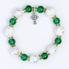 Jade, Polymer Clay and Celtic Cross Bracelet - Unity