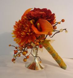 Autumn's Splendor - Orange and yellow mums, red garden roses and orange calla lily fall wedding bouquet