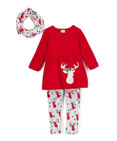 This Red Reindeer Top, Pants & Scarf Set - Infant, Toddler & Girls by Lady's World is perfect! #zulilyfinds