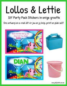 Lollos en Lettie Diy Party Packs, Baie Dankie, Word 2, I Party, Party Ideas, Birthday Parties, Birthday Ideas, Toy Chest, Birthdays
