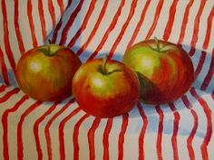 Apples on Stripes Twice, painting by artist Nel Jansen