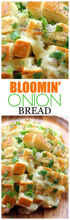 This Bloomin Onion Bread is one of my favorite party appetizers. How can you go wrong with bread cheese and butter sauce. the-girl-who-ate- Fun Easy Recipes, Popular Recipes, Easy Meals, Yummy Recipes, Cod Recipes, Cabbage Recipes, Turkey Recipes, Appetizers For Party, Appetizer Recipes