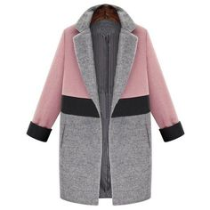 Elegant Lapel Long Sleeve Color Spliced Coat For Women found on Polyvore featuring outerwear, coats, jackets, lapel coat and long sleeve coat
