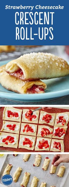 Fresh strawberries, cream cheese and crescent dough make this sweet treat easy to make. if you don't have crescents, you can use the crescent dough sheet instead to make this recipe! Expert tip: Sparkling sugar is in the baking aisle of your grocery store Crescent Dough Sheet Recipes, Crescent Roll Recipes, Crescent Roll Cheesecake, Cream Cheese Crescent Rolls, Köstliche Desserts, Delicious Desserts, Yummy Food, Plated Desserts, Croissant