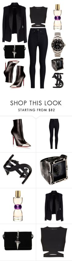 """""""Black Night!"""" by itskellywilliams ❤ liked on Polyvore featuring Christian Louboutin, Rodarte, Yves Saint Laurent, Sportmax, Cesare Paciotti, BCBGMAXAZRIA and Rolex"""