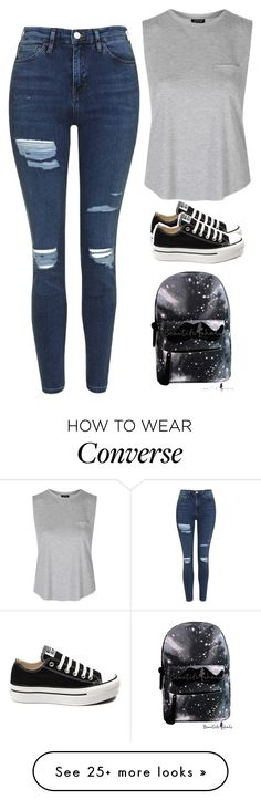 """""""Sin título #3621"""" by xoxominyeol on Polyvore featuring Topshop and Converse"""