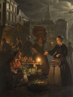 ) A Moonlit Vegetable Market Petrus van Schendel - 1855 Painting - oil. European Paintings, Old Paintings, Beautiful Paintings, House Paintings, Traditional Paintings, Traditional Art, Figure Painting, Painting & Drawing, Dutch Painters