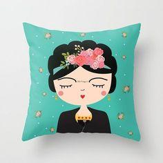 Décoration intérieure Frida, pépinière oreiller moderne, Frida coussin décoratif, Frida coussin, Boho filles oreiller, oreiller fille Frida mexicaine taies d