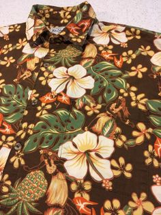 Men's Ke Nui Hawaiian Aloha Camp Shirt Tropical Floral Hula Girls L Large    eBay