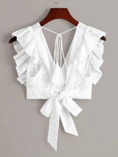 Shop Eyelet Embroidery Ruffle Cuff Tie Back Blouse at ROMWE, discover more fashion styles online. Blouse Back Neck Designs, Sari Blouse Designs, Fancy Blouse Designs, Blouse Patterns, Blouse Styles, Stylish Blouse Design, Crop Top Outfits, Blouses For Women, Ideias Fashion