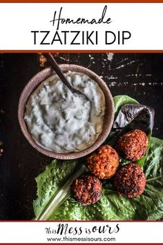 There is no better sauce for smothering falafel or kofta than homemade tzatziki! This classic Greek condiment is made with creamy Greek yogurt mixed with shredded cucumber, fresh lemon, garlic, and herbs is a match made in heaven. While I primarily serve #tzatziki with #Mediterranean fare I also love dipping crudite in it too for a light lunch or afternoon snack! #thismessisours #snacks