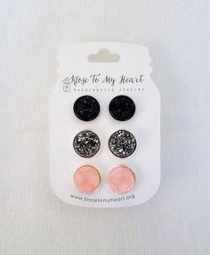 Pretty & Pink Druzy Earring Set