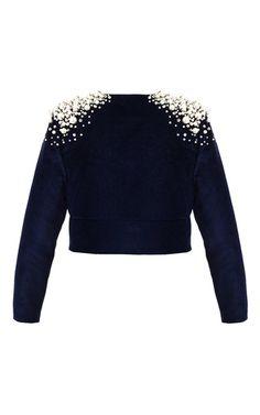 Pearl Embellished Velvet Jacket by Aka Nanita | Moda Operandi