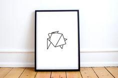 Origami Turtle Art Print Turtle Geometric Animal Geometric