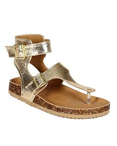Qupid CA91 Women Metallic Distressed Leatherette TStrap Buckle Flat Sandal  Gold Size 60 * Check out this great image