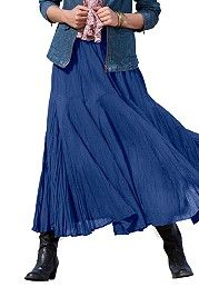 Plus Size Full sweep crinkle textured maxi skirt in cotton image