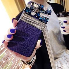 Bling Crystal Tassel Crocodile Leather Case Cover for iPhone 7 Plus 5.5 inch