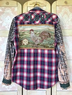 Old Shirts, Flannel Shirts, Peacock Shirt, Altered Couture, Shirt Refashion, Clothing Hacks, Diva Fashion, Handmade Clothes, Grunge