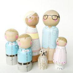 Famille de poupée peg personnalisé de 6 / / 2 parents / / 4