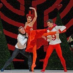 Zenaida Yanowsky with Thomas Whitehead and Johannes Stepanek in Christopher Wheeldon's Alice's Adventures in Wonderland.© Dave Morgan, courtesy the Royal Opera House