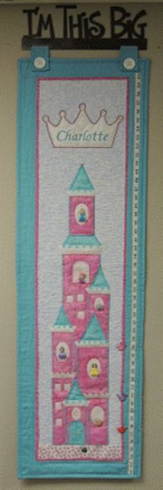 """""""Princess Dress Up"""" growth chart patterns and kits by Pastime Pieces. Check your child's height against a sky high princess castle. Personalize your little girl's name for that added touch. Princess Dress Up, Princess Castle, Little Girl Names, Little Girls, Growth Charts, Sky High, Your Child, Pattern Design, Touch"""