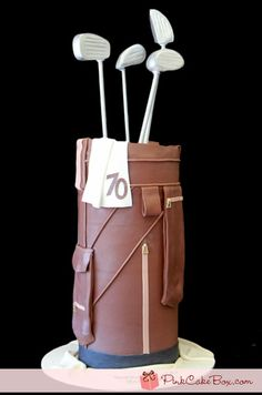 70th Birthday Golf Bag Cake by Pink Cake Box in Denville, NJ.