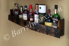 Bourbon Gifts, Whiskey Gifts, Alcohol Bottles, Liquor Bottles, Alcohol Storage, Whiskey Barrel Bar, Bar Shelves, Shelf Display, Reclaimed Wood Furniture
