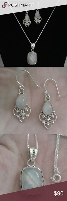"""NEW PICS! Genuine Rainbow Moonstone 925S Nk/Er Set New...Handcrafted, Gorgeous, Genuine Rainbow Moonstone Pendant 18"""" Necklace and Earring Set, Beautiful Set! Comes With a Packaged, Anti- Tarnish, Polishing Cloth. Fine Handcrafted in India Jewelry"""