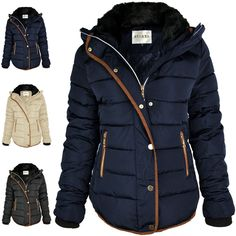 QUILTED WINTER COAT PUFFER FUR COLLAR HOODED JACKET PARKA