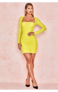 fa104e02ed8 Clothing   Bodycon Dresses    Valentina  Chartreuse Long Sleeved Ruched  Organza Mesh Dress