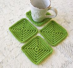 Drink Coasters  Square Coasters  Green by CottageImaginations