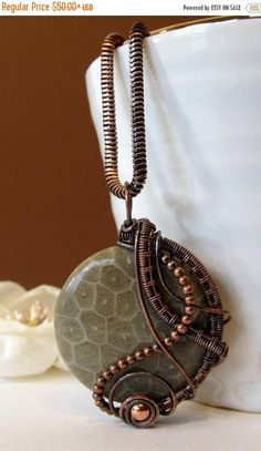 SALE Round Wire Wrapped Pendant Fossil Coral and Antiqued