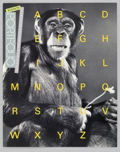 A full-page photographic frontal image of a monkey, brown-tinged black with white highlights, is overlaid by apricot-colored capital letters A-Z, arranged in six evenly spaced rows. The monkey seems to smile; his arms are bent at the elbows; and with his left hand, he is picking off the petals of a long-stemmed flower, which he is holding in his right. On the upper part of the page, against the left edge, is a three-part identification: Adweek, in upside-down capitals on a pale green…