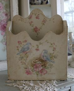 Shabby Chic Vintage Bluebird and Roses Magazine Holder by Debi Coules. -  GORGEOUS!!!  A