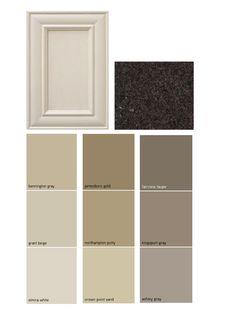 Paint palate - dark granite, off white cabinets