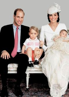 Prince William, Duke of Cambridge, Prince George of Cambridge, Catherine, Duchess of Cambridge and Princess Charlotte of Cambridge pose for a family photo after the christening of their daughter Princess Charlotte of Cambridge at the Sandringham Estate on July 5, 2015 in King's Lynn, England.