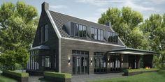 MARENKESSEL #denoldervleugels.nl In het buitengebied van Maren-Kessel is een… Modern Contemporary Homes, Modern Barn, Architecture Details, Modern Architecture, Dormer Bungalow, Villa, Barn Living, Modern Farmhouse Exterior, Mansions Homes