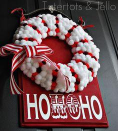 Dyed pom pom wreath