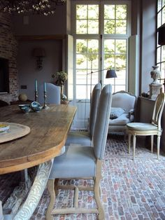 Dining room, architectural beauty, brick floor, stone and wood