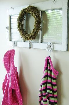 lay on side and add hooks - great for bathroom towels or by a door for jackets